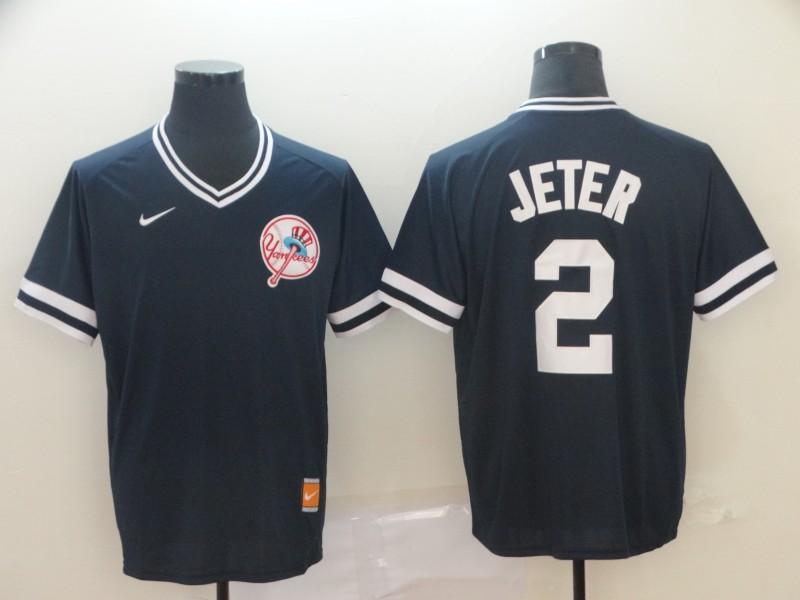 Men's New York Yankees 2 Derek Jeter Black Throwback Jersey