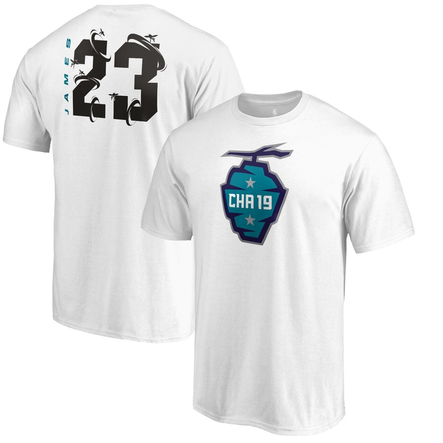Los Angeles Lakers 23 LeBron James Fanatics Branded 2019 NBA All-Star Game The Buzz Side Sweep Name & Number T-Shirt White