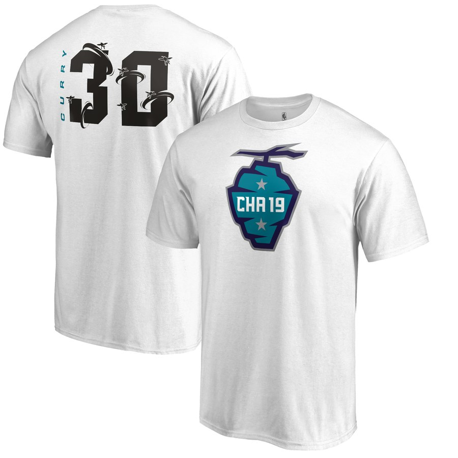Golden State Warriors 30 Stephen Curry Fanatics Branded 2019 NBA All-Star Game The Buzz Side Sweep Name & Number T-Shirt White