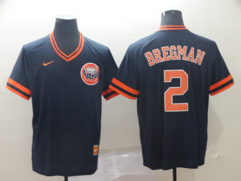 Men's Houston Astros 2 Alex Bregman Navy Throwback Jersey