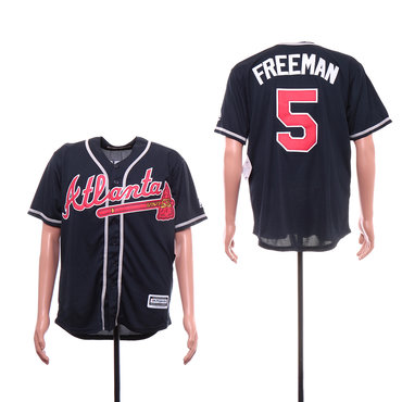 Men's Atlanta Braves 5 Freddie Freeman Navy Cool Base Jersey