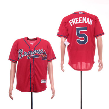 Men's Atlanta Braves 5 Freddie Freeman Red Cool Base Jersey