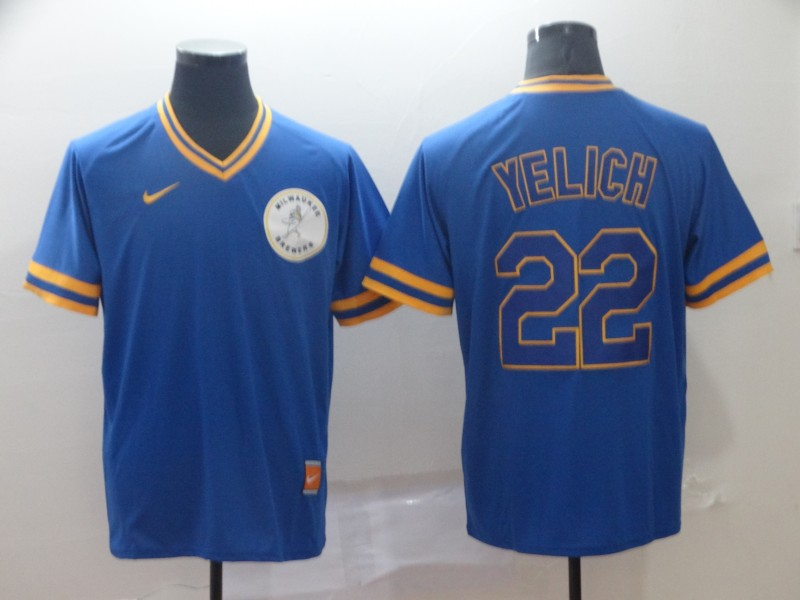 9b58deee1 Men s Milwaukee Brewers 22 Christian Yelich Royal Throwback Jersey