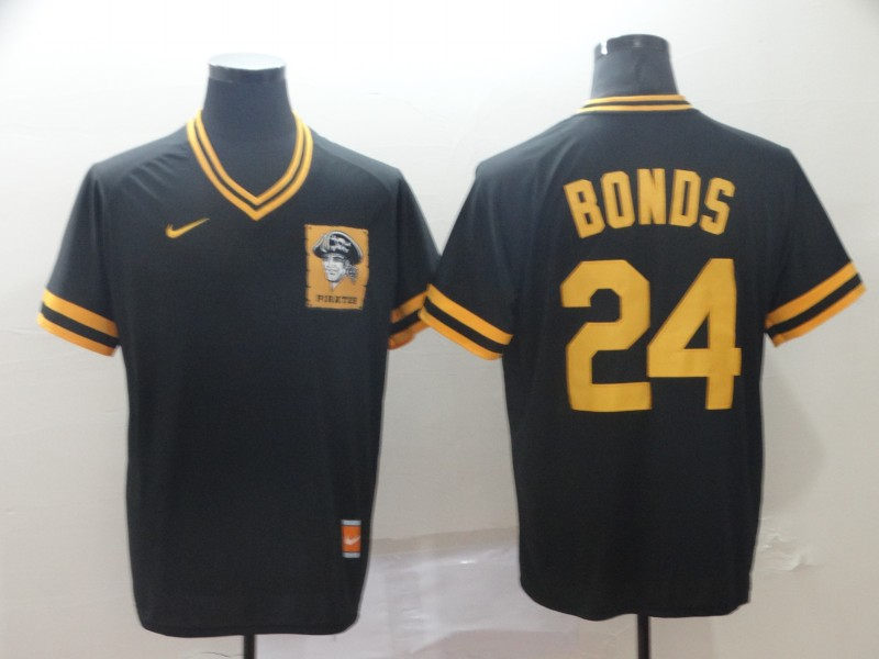 Men's Pittsburgh Pirates 24 Barry Bonds Black Throwback Jersey