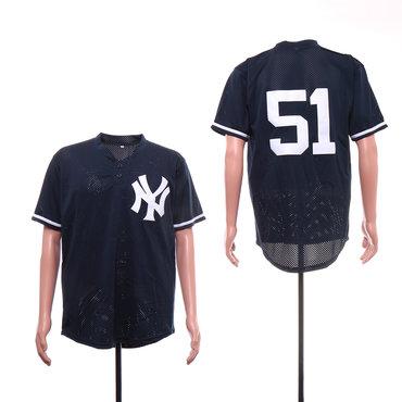 Men's New York Yankees 51 Bernie Williams Navy Mesh BP Jersey
