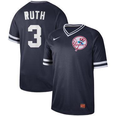 Men's New York Yankees 3 Babe Ruth Blue Throwback Jersey