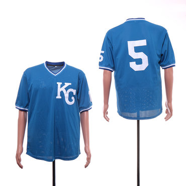 Men's Kansas City Royals 5 George Brett Light Blue Mesh BP Jersey