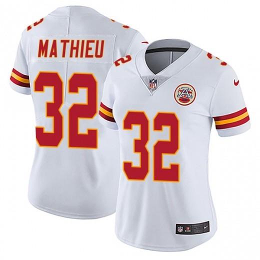 Women Kansas City Chiefs 32 Tyrann Mathieu White Vapor Untouchable Limited Jersey