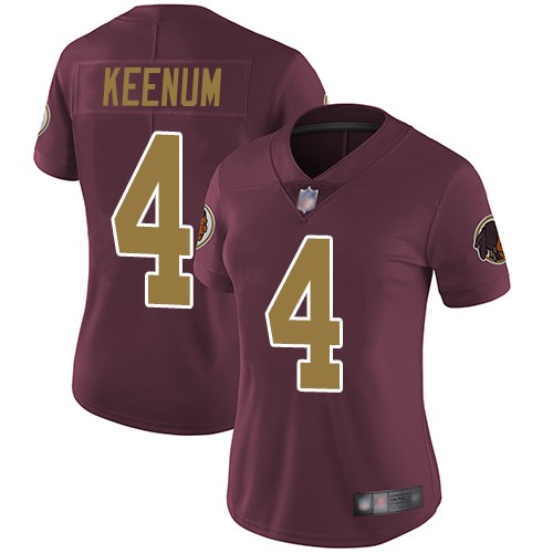 Women Nike Washington Redskins 4 Case Keenum Burgundy Alternate Vapor Untouchable Limited Jersey