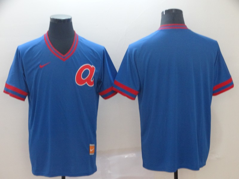 Men's Atlanta Braves Blank Blue Throwback Jersey