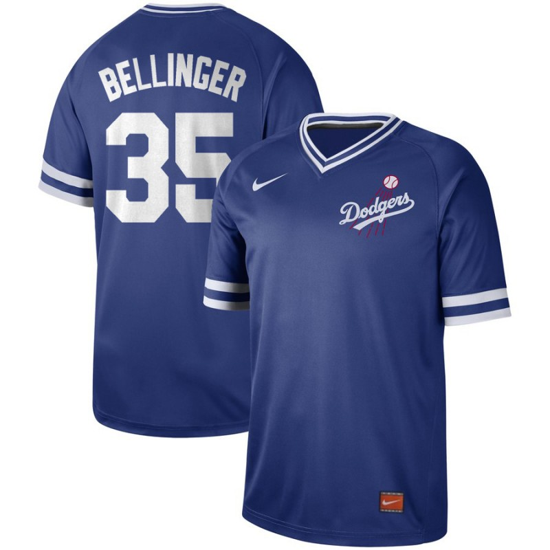 Men's Los Angeles Dodgers 35 Cody Bellinger Blue Throwback Jersey