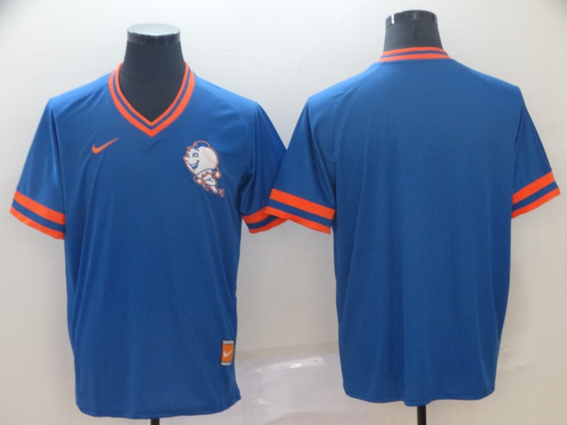 Men's New York Mets Blank Blue Throwback Jersey