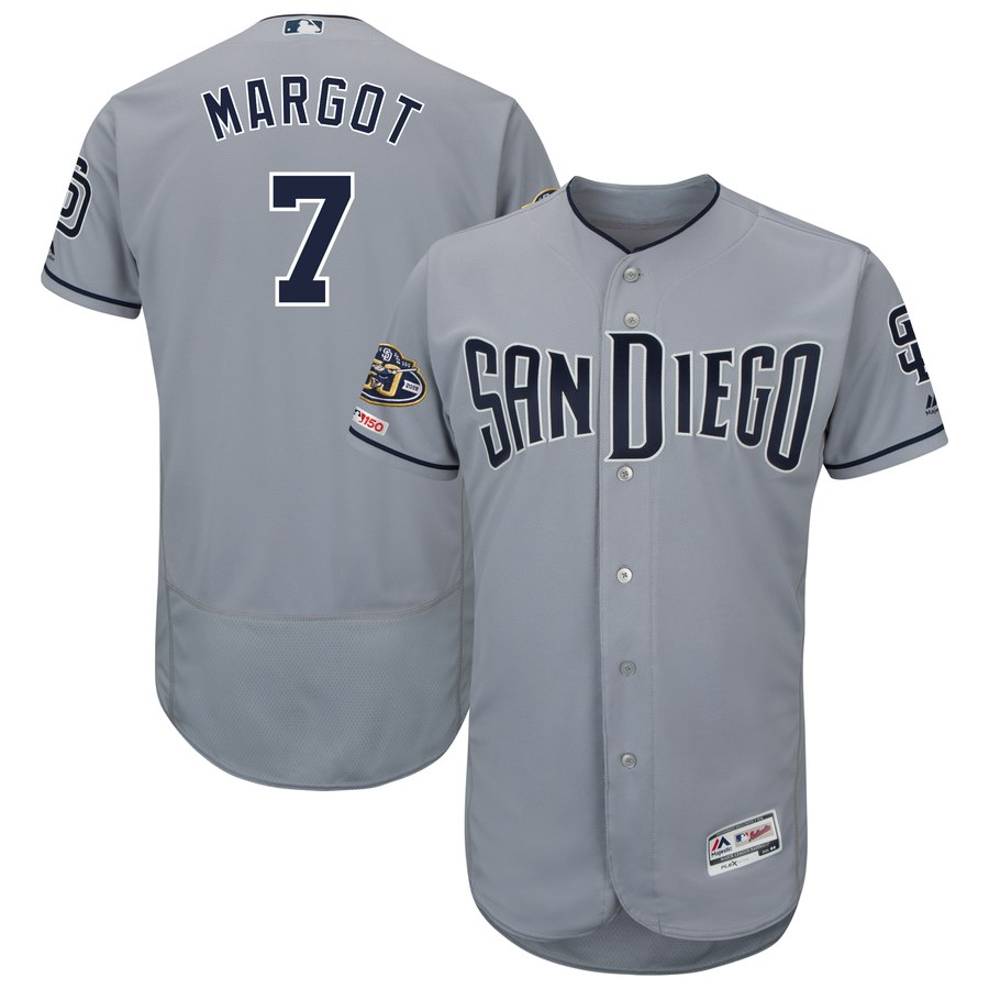 Men's San Diego Padres 7 Manuel Margot Gray 50th Anniversary and 150th Patch FlexBase Jersey