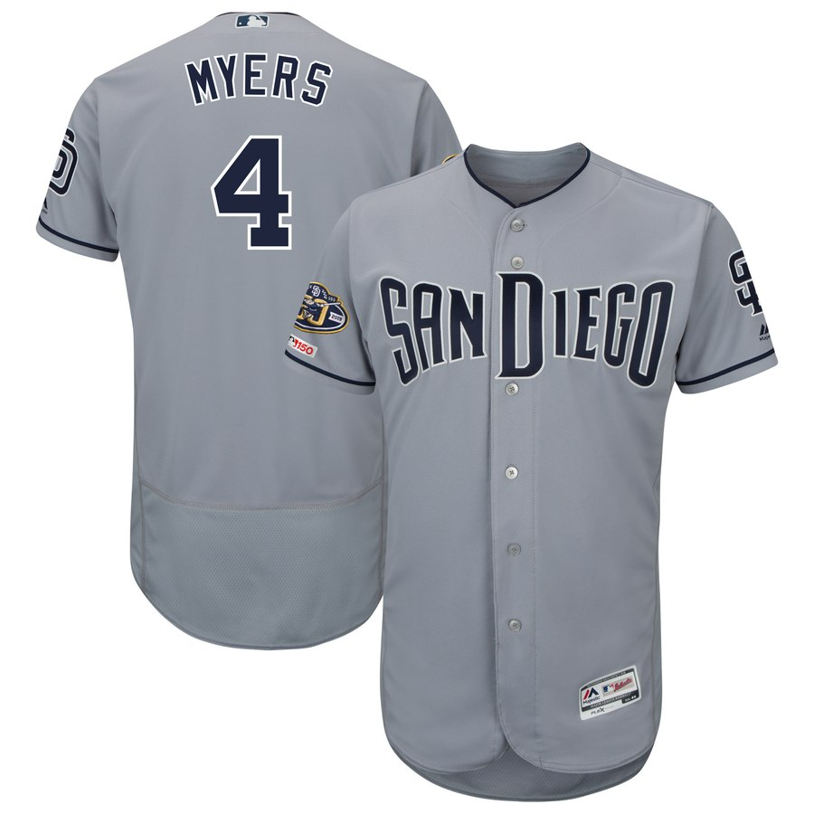 Men's San Diego Padres 4 Wil Meyers Gray 50th Anniversary and 150th Patch FlexBase Jersey
