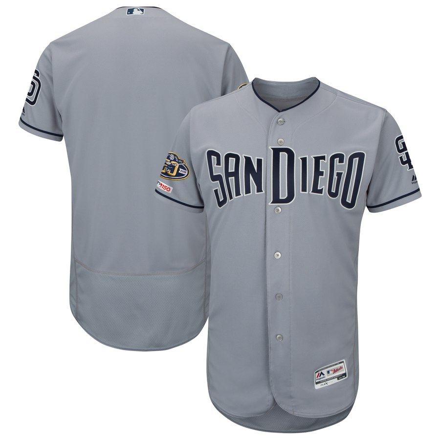 Men's San Diego Padres Blank Gray 50th Anniversary and 150th Patch FlexBase Jersey