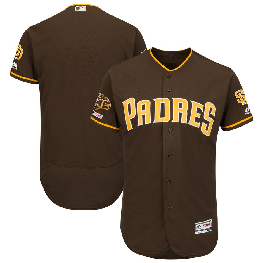 Men's San Diego Padres Blank Brown 50th Anniversary and 150th Patch FlexBase Jersey