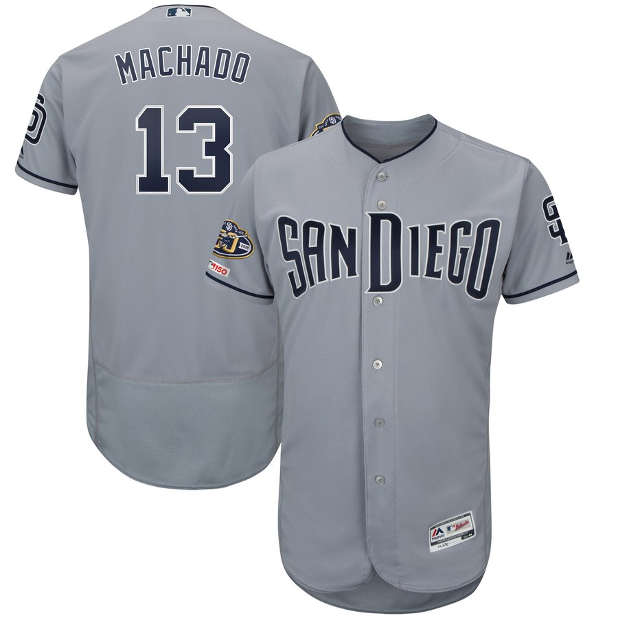 Men's San Diego Padres 13 Manny Machado Gray 50th Anniversary and 150th Patch FlexBase Jersey