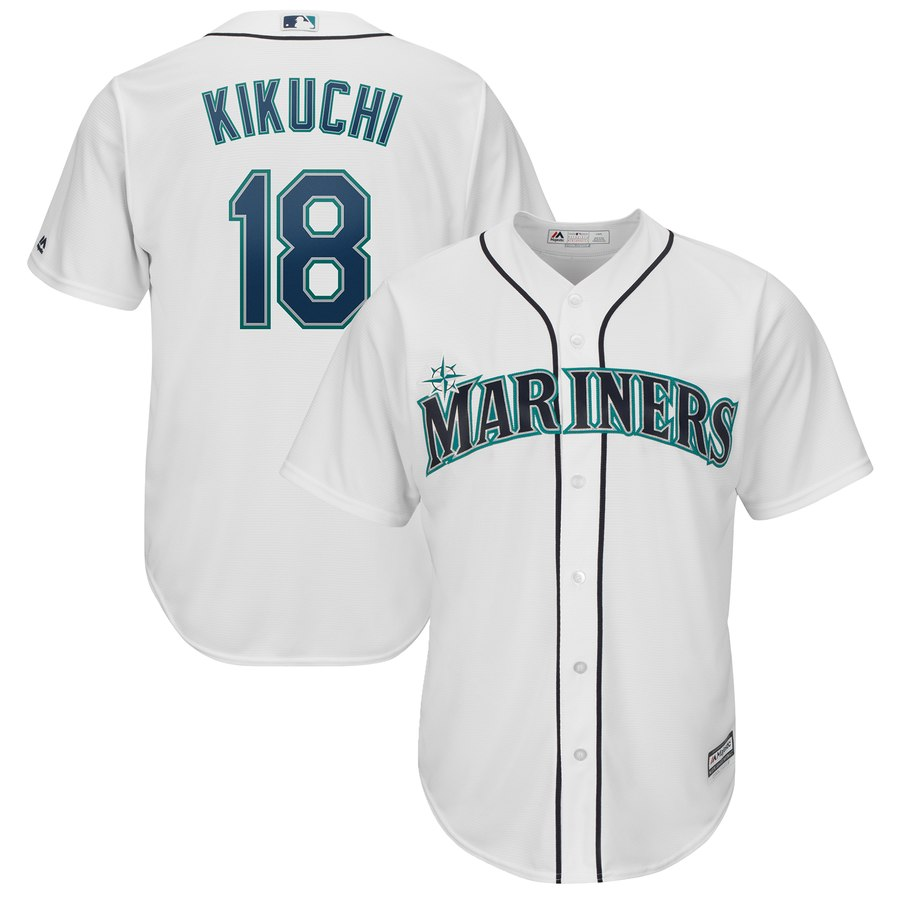 Men's Seattle Mariners 18 Yusei Kikuchi White Cool Base Jersey