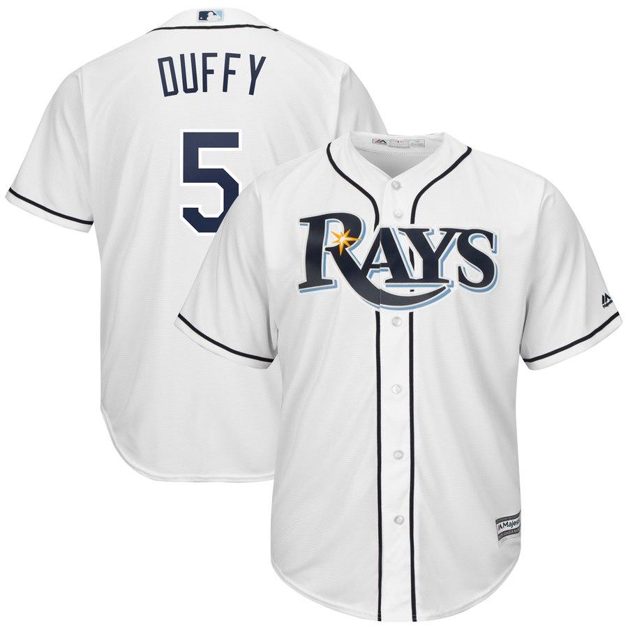 Men's Tampa Bay Rays 5 Matt Duffy White Cool Base Jersey
