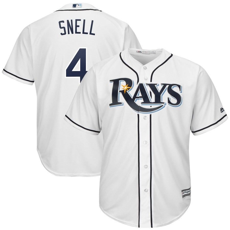 Men's Tampa Bay Rays 4 Blake Snell White Cool Base Jersey