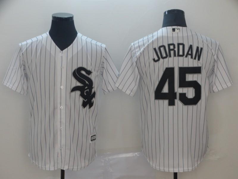 Men's Chicago White Sox 45 Michael Jordan White Cool Base Jersey