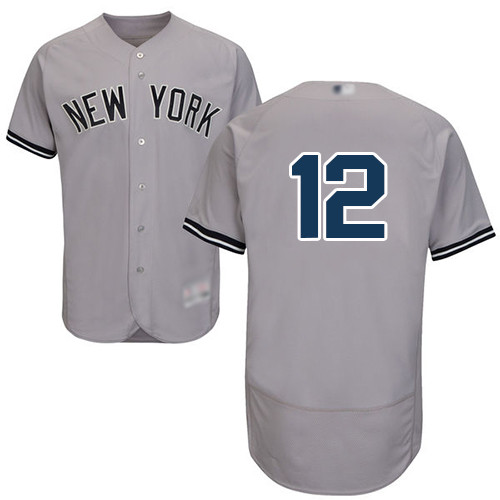 Men's New York Yankees #12 Troy Tulowitzki Grey Flexbase Authentic Collection Stitched Baseball Jersey