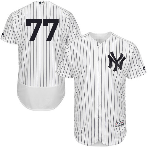 Men's New York Yankees #77 Clint Frazier White Strip Flexbase Authentic Collection Stitched Baseball Jersey