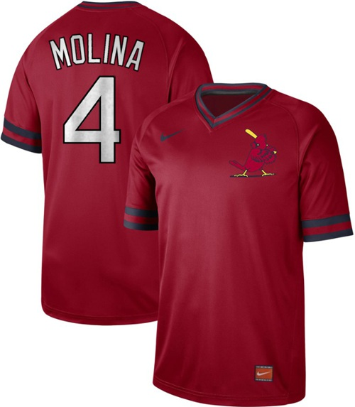 64a16403a Men s St. Louis Cardinals  4 Yadier Molina Red Authentic Cooperstown  Collection Stitched Baseball Jersey