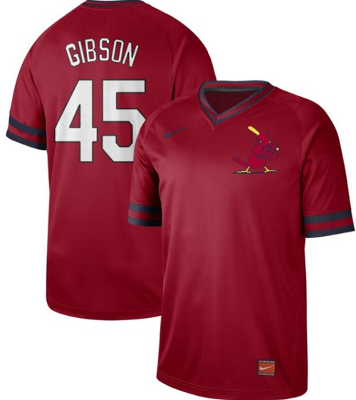 Men's St. Louis Cardinals #45 Bob Gibson Red Authentic Cooperstown Collection Stitched Baseball Jersey