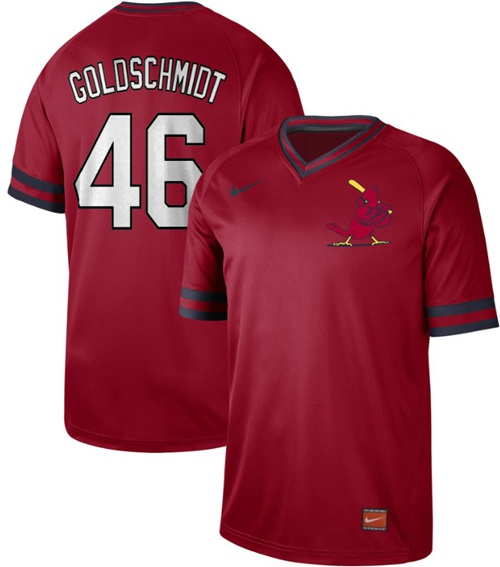 Men's St. Louis Cardinals #46 Paul Goldschmidt Red Authentic Cooperstown Collection Stitched Baseball Jersey