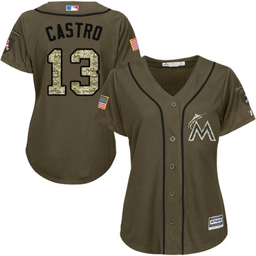 Marlins #13 Starlin Castro Green Salute to Service Women's Stitched Baseball Jersey