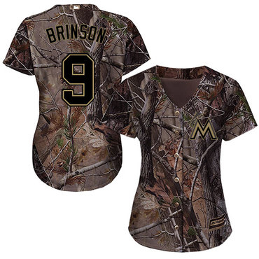 Marlins #9 Lewis Brinson Camo Realtree Collection Cool Base Women's Stitched Baseball Jersey