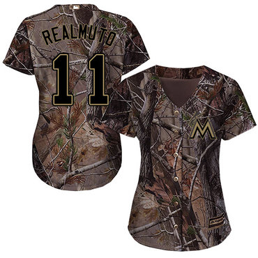 Marlins #11 JT Realmuto Camo Realtree Collection Cool Base Women's Stitched Baseball Jersey
