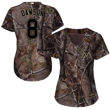 Marlins #8 Andre Dawson Camo Realtree Collection Cool Base Women's Stitched Baseball Jersey
