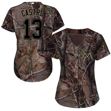 Marlins #13 Starlin Castro Camo Realtree Collection Cool Base Women's Stitched Baseball Jersey