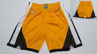 Warriors Yellow Earned Edition Nike Swingman Shorts