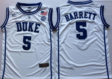 Duke Blue Devils 5 RJ Barrett White Nike College Basketball Jersey