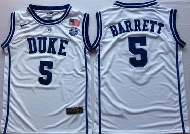 7951f893627 Duke Blue Devils 5 RJ Barrett White Nike College Basketball Jersey