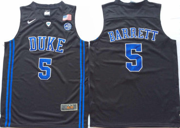 Duke Blue Devils 5 RJ Barrett Black Nike College Basketball Jersey