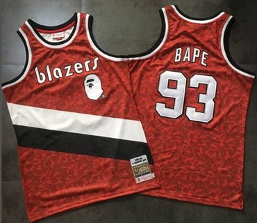 A Bathing Ape Blazers #93 Bape Red Stitched Basketball Jersey