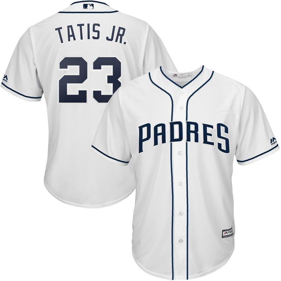 Men's San Diego Padres 23 Fernando Tatis Jr. White Cool Base Jersey