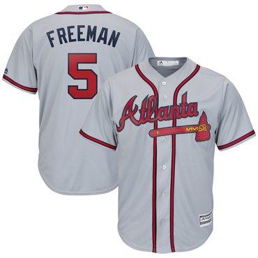 Men's Atlanta Braves 5 Freddie Freeman Gray Cool Base Jersey