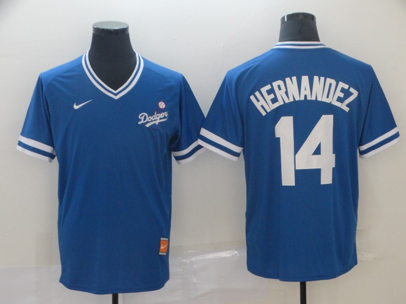Men's Los Angeles Dodgers 14 Enrique Hernandez Royal Throwback Jersey