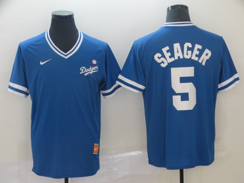 Men's Los Angeles Dodgers 5 Corey Seager Royal Throwback Jersey