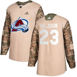 Men's Colorado Avalanche #23 Milan Hejduk Adidas Authentic Veterans Day Practice Camo Jersey