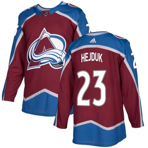 Men's Colorado Avalanche #23 Milan Hejduk Adidas Authentic Burgundy Home Jersey
