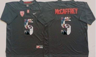 Stanford Cardinal 5 Christian McCaffrey Black Portrait Number College Jersey