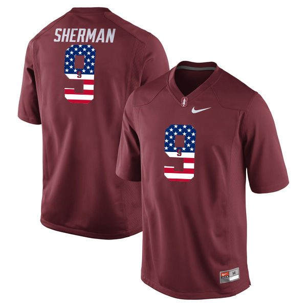 Stanford Cardinal 5 Christian McCaffrey Red USA Flag College Football Limited Jersey