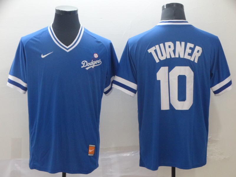 Men's Los Angeles Dodgers 10 Justin Turner Royal Throwback Jersey