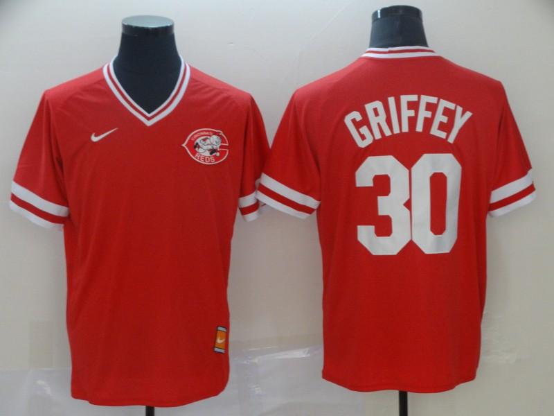 Men's Cincinnati Reds 30 Ken Griffey Jr Red Throwback Jersey